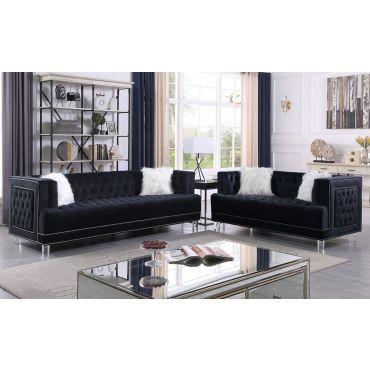 Dayna Tufted Black Velvet Sofa Set