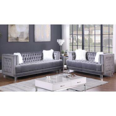 Dayna Tufted Grey Velvet Sofa