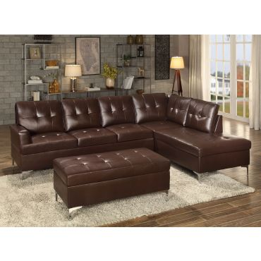 Degah Brown Leather Modern Sectional