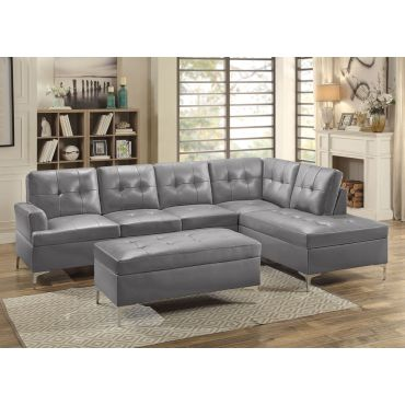 Degah Grey Leather Sectional Sofa