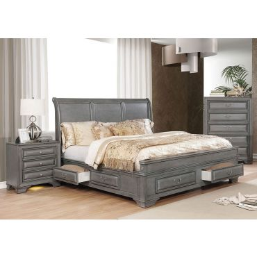 Delano Gray Finish Storage Bed