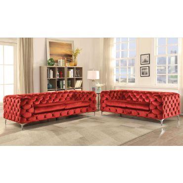 Delilah Modern Red Velvet Living Room
