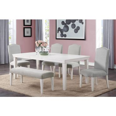 Della Transitional Style Dining Table Set