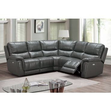 Delta Grey Top Grain Leather Recliner Sectional