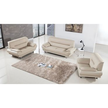 Denzel Beige Leather Sofa Set