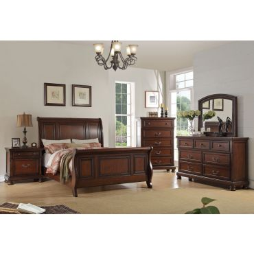 Derby Walnut Finish Sleigh Bed Collection