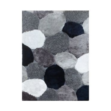 Modern Grey Navy Shag Rug Design 25