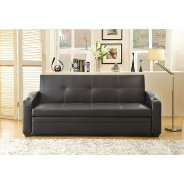 Detroit Black Leather Sofa Sleeper