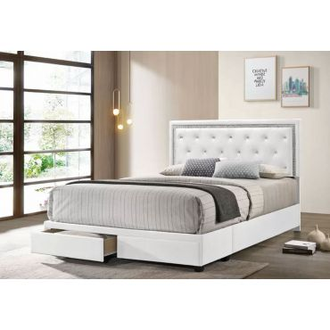 Dex White Leather Storage Bed With Crystals