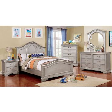 Divenna Silver Finish Youth Bedroom Furniture