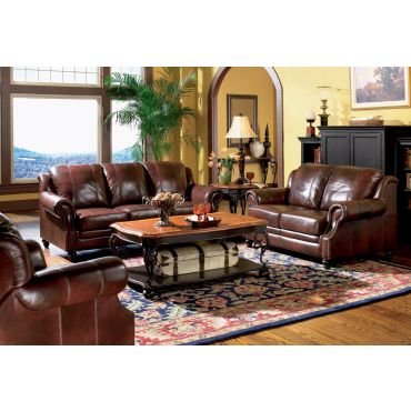 Domus Traditional Style Leather Sofa Set