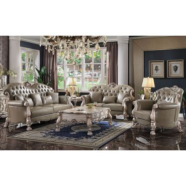 Dresden Taupe Leather Traditional Sofa