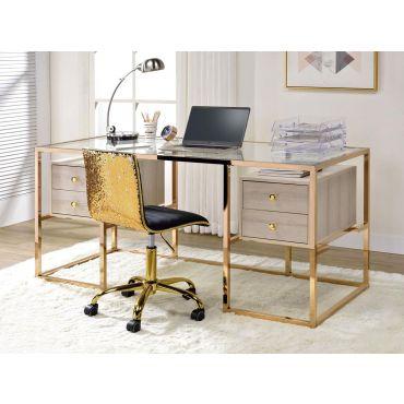 Edelina Gold Finish Home Office Desk