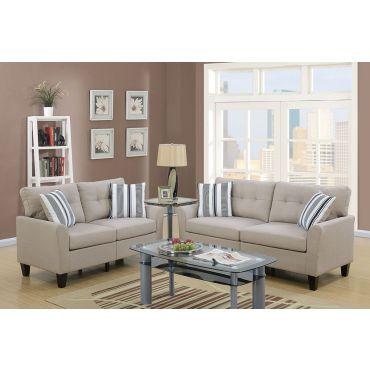 Egerton Beige Linen 2-Piece Sofa Set