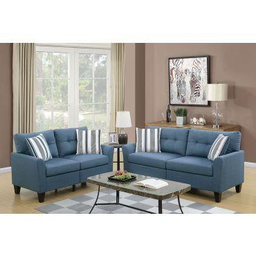 Egerton Blue Linen 2-Piece Sofa Set