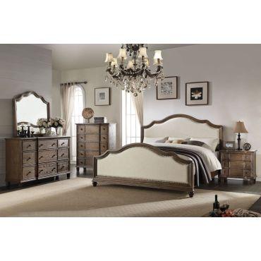 Elberte Rustic Oak Finish Bed Collection