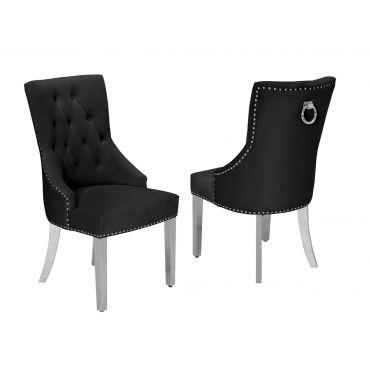 Eleanor Tufted Black Velvet Dining Chair