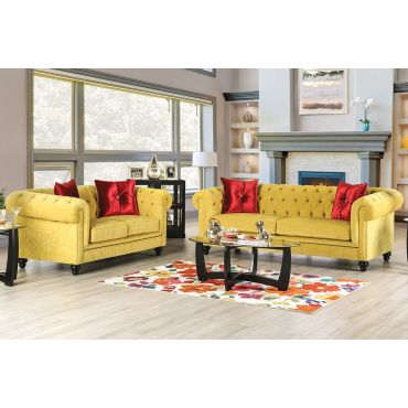 Elisa Yellow Microfiber Chesterfield Sofa Set