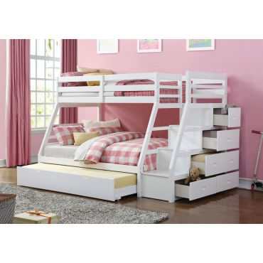 Elling White Bunkbed With Storage Stairs