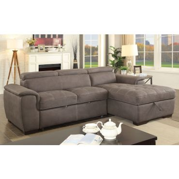 Emerald Brown Nubuck Sectional Sleeper