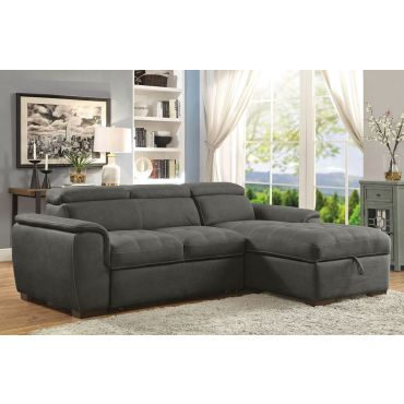 Emerald Graphite Fabric Sectional Sleeper
