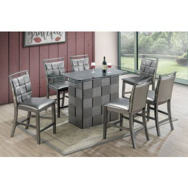 Emerson Glass Top Counter Height Table Set