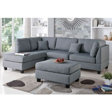 Emilia Grey Linen Sectional Sofa Set