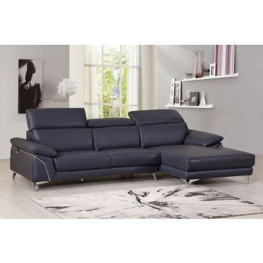 Emiliano Genuine Italian Leather Sectional Navy Blue