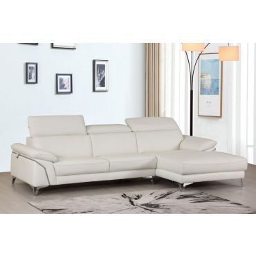 Emiliano White Leather Sectional