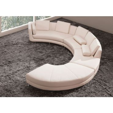 Encore Beige Leather Circular Sectional