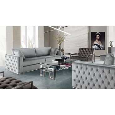 Nabila Platinum Grey Velvet Sofa Set