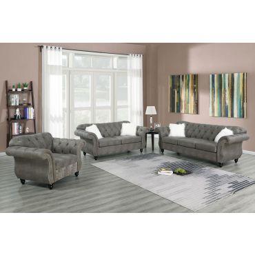 Esther Grey Nubuck Chesterfield Sofa Set