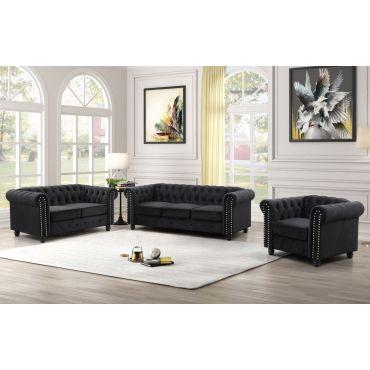 Evart Black Velvet Chesterfield Living Room