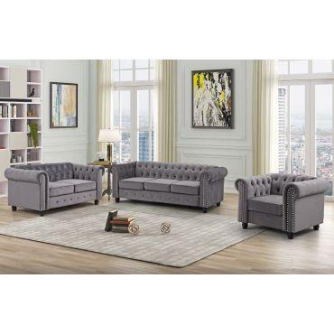 Evart Grey Velvet Chesterfield Sofa Set