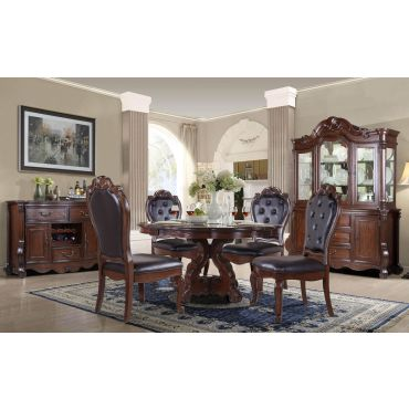 Evelyn Traditional Round Dining Table Set