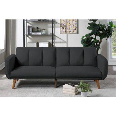Evin Black Linen Sofa Futon