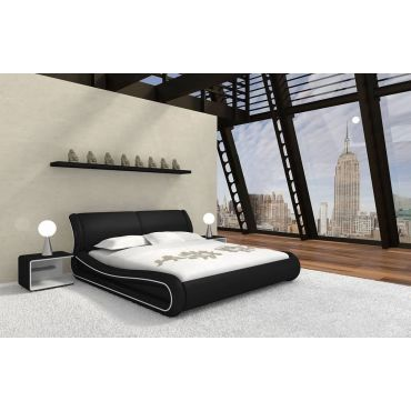 Exton Grey Platform Leather Bed