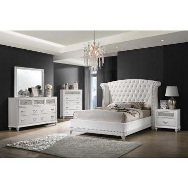 Farin White Velvet Bed Crystal Tufted