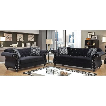 Faris Crystal Tufted Fabric Sofa