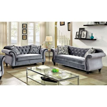 Faris Grey Fabric Living Room