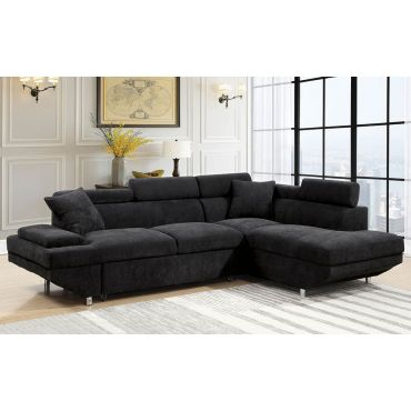 Favian Black Sectional With Pullout Sleeper