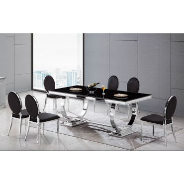 Favio Modern Dining Table Black Glass Top