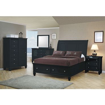 Fawn Black Finish Storage Bed