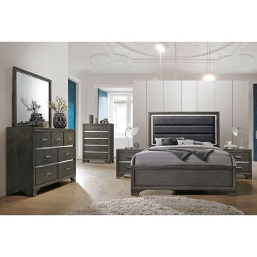 Faye Contemporary Bed Gray Finish