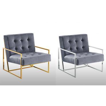 Fenton Modern Accent Chair Gray Velvet