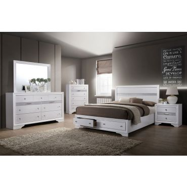 Filipo White Bed With Storage Drawers
