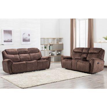 Flatbush Brown Velvet Recliner Sofa Set