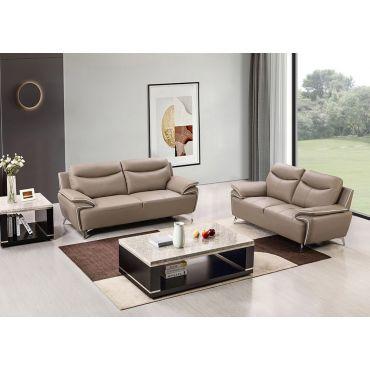 Fracer Dark Tan Genuine Leather Sofa Set