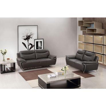 Fracer Dark Taupe Leather Modern Sofa