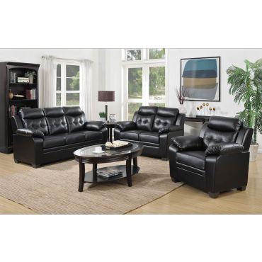 Freedom Black Leather Casual Sofa
